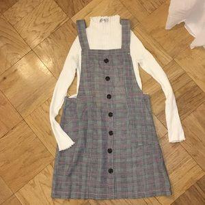 NWT LF plaid overall dress